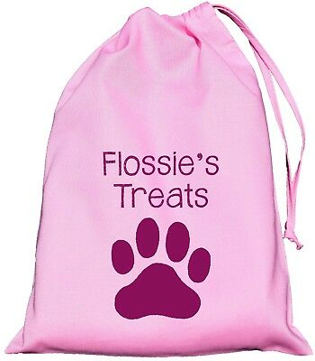 Personalised Dog Treat Bag - Pink Cotton Drawstring Bag - 3 sizes Training