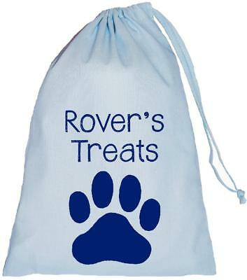 Personalised Dog Treat Bag - Blue Cotton Drawstring Bag - 3 sizes Training