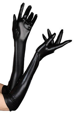 Adult size Black Dominique Opera Length Gloves - Costume Accessory fnt