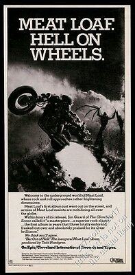 1977 Meat Loaf motorcycle art Bat Out Of Hell album release vintage print ad