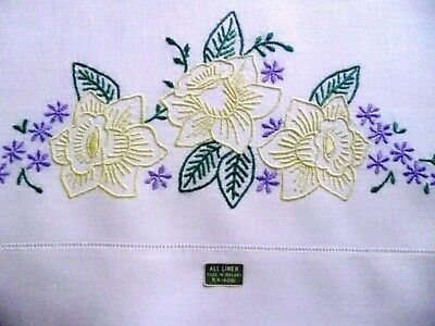 Vintage PURE IRISH LINEN Pillowcases w/ TAGS Embroidery
