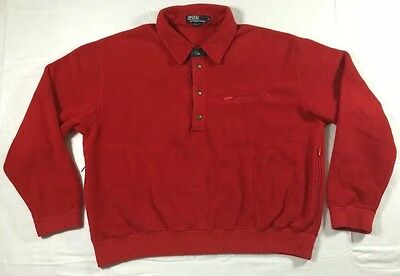 vtg 90s Polo Ralph Lauren USA Made Red Fleece Snap T Pullover sz L