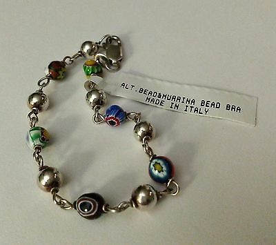 Italy Murano glass beaded & Sterling beaded Bracelet