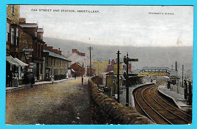Dated 1905. Oak Street and Station, Abertillery,  Monmouthshire