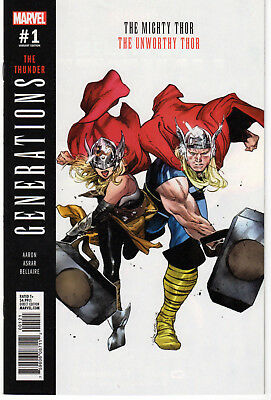 GENERATIONS: UNWORTHY THOR & MIGHTY THOR #1 Variant, Marvel, 2017  NM- (9.2)