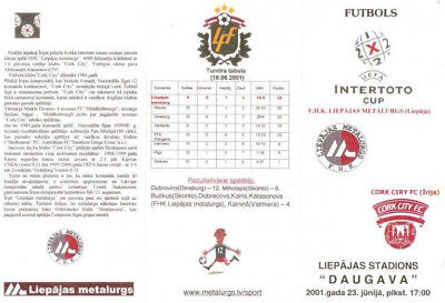 Programme Metallurgs Liepaja Latvia - Cork City Ireland 2001 UEFA-Intertoto