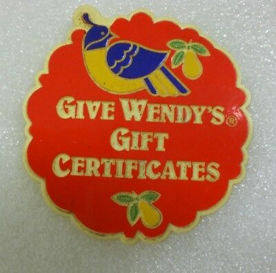 """Wendy's """"Give Wendy's Gift Certificates""""  3"""" Employee Plastic Pin"""
