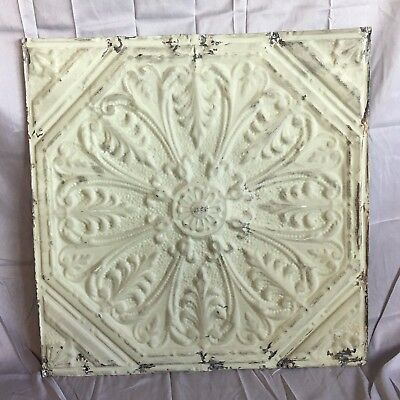 "1890's 24"" x 24"" Antique Reclaimed Tin Ceiling Tile Green 498-17 Anniversary"