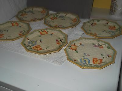 Six Beswick  Ten Sided Side Plates In Lemon With A Floral & Basket Weave
