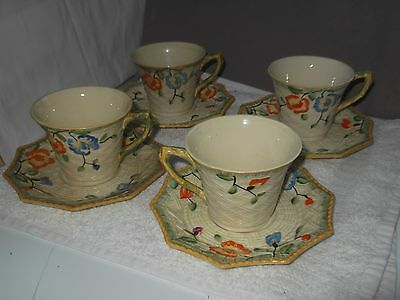 Four Beswick Cups And Saucers  In Lemon With A Floral & Basket Weave
