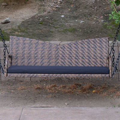 "Espresso 52"" Patio Porch Swing Chair Resin Wicker Tree Ceiling Hanging W/ Chains"