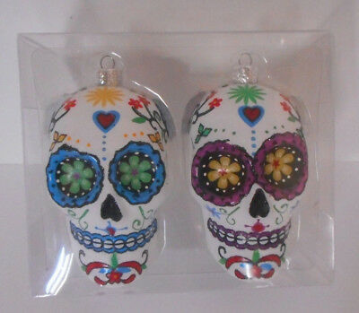 Set of 2 plastic Day of the Dead Skull ornaments