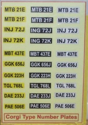 Corgi type number plates ( sticker ) lot G