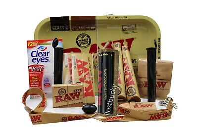 RAW 7x11 TRAY BUNDLE-ROLLING PAPERS+TIPS+ROLLING MACHINE+Tube+ETC