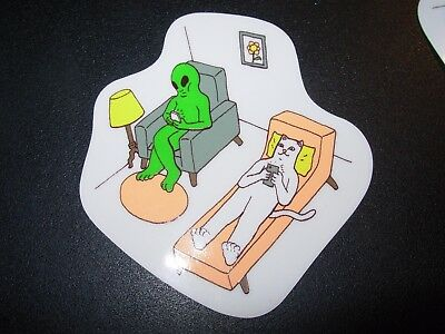 "RIPNDIP Skate Sticker NERMAL ALIEN THERAPY 2.75X2.5"" skateboards helmets decal"
