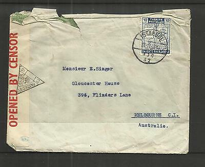 Turkey ~  1940  Cover To Australia - Censored (No Contents)