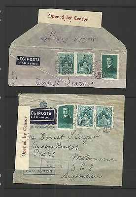 Hungary  ~  1940 Air Mail Cover To Australia - Censored (No Contents)