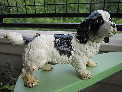 Antique Original Hubley Large Cocker Spaniel Cast Iron #487 Art Statue Doorstop