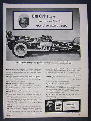 1959 Don Garlits Isky-Weiand Special Dragster photo Pennzoil vintage print Ad