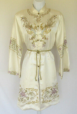 Vintage Kimono Coat Dress Soutache Embroidery Brass Frog Buttons Belt