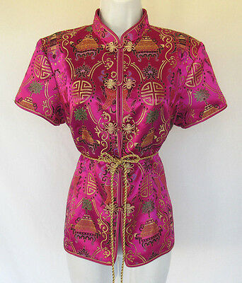 VINTAGE 1960s JAPANESE KIMONO JACKET SILK BLEND? ROPE BELT SIZE LARGE LINED