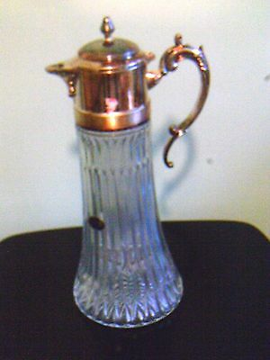 Vintage glass silver plated top clarinet pitcher