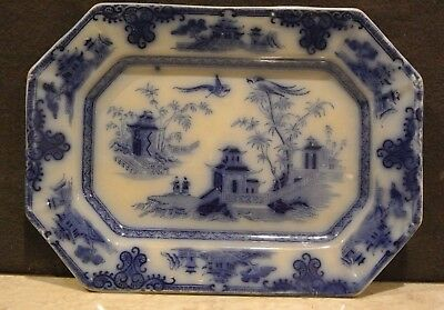 Antique Ironstone Chusan Flow Blue Octagon Tray J. Clementson Pagoda and Palms