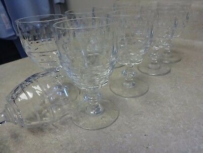 "9 PCS VAL ST LAMBERT BLARNEY CLEAR 4 1/2""H CUT CRYSTAL WINE GOBLETS cordial/port"