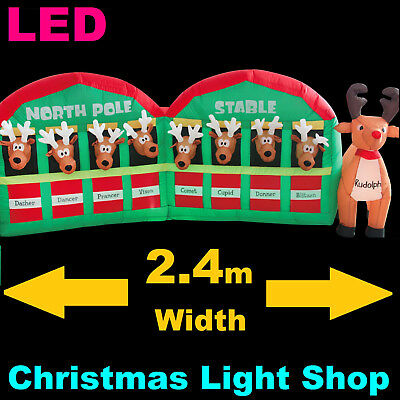 REINDEER STABLE North Pole Inflatable Christmas Outdoor Air Power LED Lights