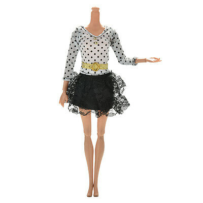 1X White Black Dress Long Sleeves Dots Lace Skirt For Barbies Doll with Belt LX