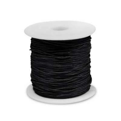 1 Roll 80M Waxed Cotton Cord Beading Thread Jewellery Making Thong 1x1mm Black