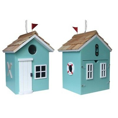 Turquoise Bayside Beach Hut Birdhouse - Garden Bazaar Hbd2003 Bay Side Bird
