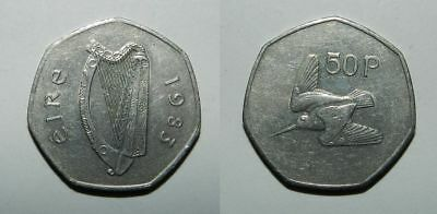 Ireland : 50 Pence 1983 - Harp & Woodcock - Attractive Issue