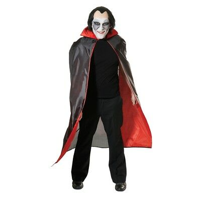 Black Dracula Cape With Red Lining - Fancy Dress Halloween Vampire Lined Adult