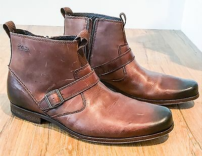 Brand new W tag Clarks Mens side zip gents boots leather tops sides W buckle 11g