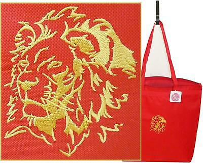 Gold Majestic Lion's Head Monogram Bag Red Large Zipper Tote Lion Mascot Gift