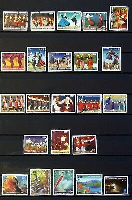 GREECE, 100 GREEK USED STAMPS 2001 - 2016 euro period off paper, + gift