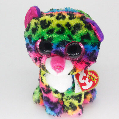 """New 6"""" Ty Beanie Boos Multicolor Leopard Dotty Stuffed Plush Toys Animals Gift"""
