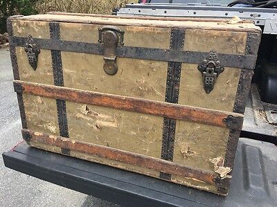Antique CROUCH & FITZGERALD  Steamer or Travel Trunk Local Pick Up Only