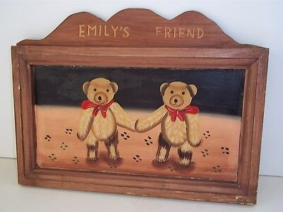 Vintage HAND PAINTED Hand-Made Wood Wall Plaque EMILY's FRIEND 2 Bear Cubs