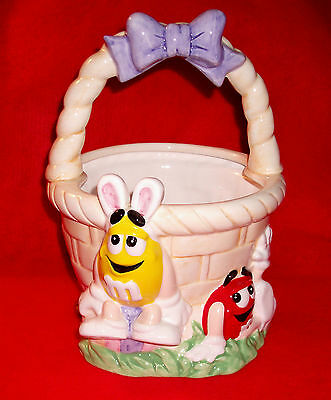 Mint lg M&M's ceramic handled Easter BASKET great design & coloring