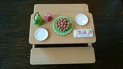 Sylvanian Families picnic table and bench, accessories food plates kettle tissue
