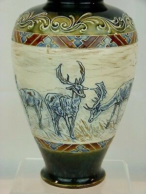 "A Large Impressive Doulton Lambeth Deer Herd Vase by Hannah Barlow. 14 1/2"" Tall"