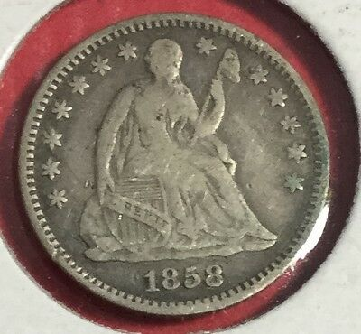 1858 US Seated LIBERTY SILVER Half Dime! FINE! Old US Coins!