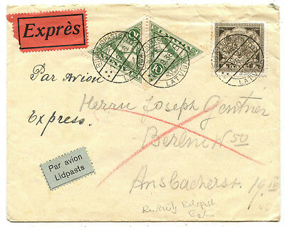 Lettland Luftpost Express Brief Riga Berlin 1936
