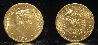 COLOMBIA BU 1926 FIVE gold Pesos Simon Bolivar NOT A RANDOM DATE--hand selected