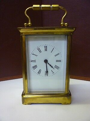 Antique Brass Carriage Clock Needs Tidying But Is In Full Working Order