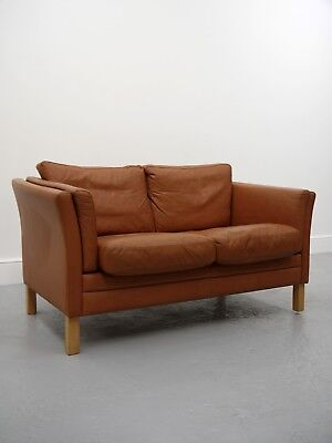 1960S Vintage Original Tan Danish Mogens Hansen Leather Two Seat Sofa Denmark
