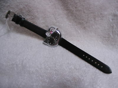 """""""Hello Kitty"""" Black Watch - Hello Kitty Face / Black Leather Band"""