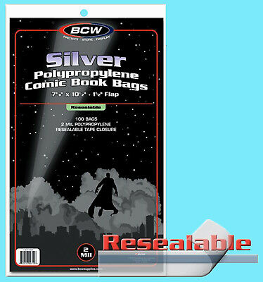 "100 BCW RESEALABLE SILVER REGULAR COMIC BOOK BAGS 7-1/8""x10-1/2"" Clear Plastic"